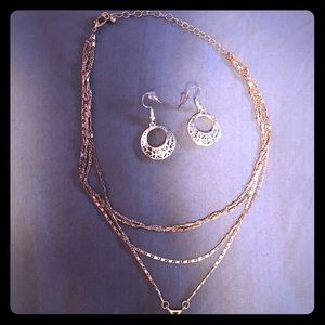 Jewelry - Rose Gold layered drop necklace and earrings